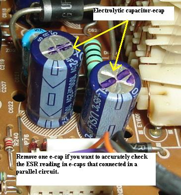 test electrolytic capacitor